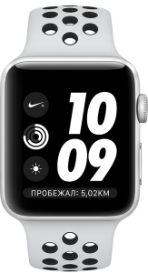 Умные часы Apple Watch Nike+ 38mm (серебристый алюминий/чистая платина, черный)
