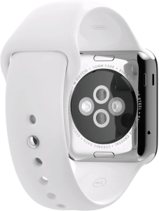 Умные часы Apple Watch 38mm Stainless Steel with White Sport Band