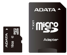 Карта памяти A-Data Premier microSDHC Class 10 UHS-I U1 + SD adapter 16Gb