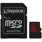 Карта памяти Kingston microSDHC (Class 10) 32GB + адаптер